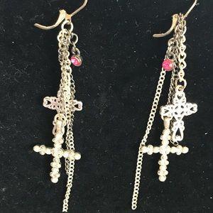 Jewelry - Cross dangly earrings